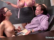Full-bosomed principal Roxanne Rae forced schoolgirl Angelina Castro to give handjob to teacher as punishment 7