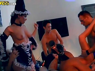 Group of young students spends Halloween fucking to cool music at dissolute party