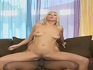 Sweet dollface with velvet skin and slender legs brought black dude to ejaculation 8