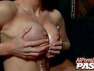 Shaggy macho makes some powerful movements nailing stacked blonde's pussy with his boner 11