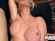 Shaggy macho makes some powerful movements nailing stacked blonde's pussy with his boner 5