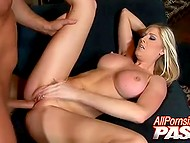 Shaggy macho makes some powerful movements nailing stacked blonde's pussy with his boner 8