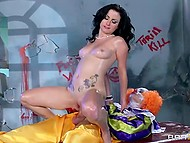 Black-haired hottie was dreaming of coition with clown and one day he screwed her on the couch 6