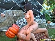 Horseman with huge pumpkin on his head owned lovely's trimmed vagina in honor of Halloween 8