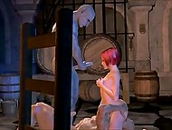 There is a lot of wine in the cellar but two ogres are interested in red-haired whore's holes only 10