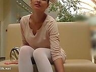 Minx Jeny Smith went shopping but forgot to put on panties under white leggings 10