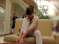 Minx Jeny Smith went shopping but forgot to put on panties under white leggings 11