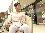 Minx Jeny Smith went shopping but forgot to put on panties under white leggings