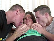 Fellow called mate to fulfill desire of middle-aged BBW who had been dreaming of threesome sex 4