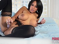 Fiery Latina Faustine Lee masturbates dreaming not of prince on white horse but of riding huge boner 5