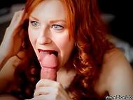 Любовница с ярко-рыжими волосами и красными губами оформила нежный минет мужику в кресле 4