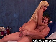 Stunning hot blonde couldn't even imagine that older masseur would cum inside bald ginch