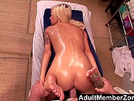 Stunning hot blonde couldn't even imagine that older masseur would cum inside bald ginch 4