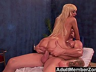Stunning hot blonde couldn't even imagine that older masseur would cum inside bald ginch 9