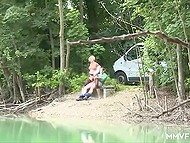 Blonde babe gets caught pissing then she decides to have fun with her man by the river 8