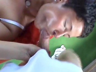 Mature German gets ready to blow man's cock that attacks her mouth and after ejaculates right there