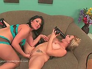 Slutty girlfriends with massive jugs have a passion for wild games with strapon 4