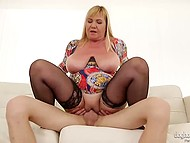 It was a special day for full-bosomed dame because her hole was feeling lack of younger dick 4