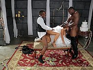 Before walking down the aisle, Asian bride Asa Akira was fervently owned by two black guys 5