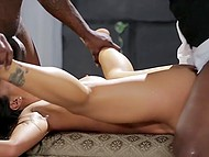 Before walking down the aisle, Asian bride Asa Akira was fervently owned by two black guys 9