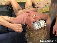 During deepthroat blowjob tootsie started to talk about money and brusque lad attached one dollar to her forehead 6