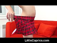 When exemplary schoolgirl Little Caprice comes home after classes, she begins to finger smooth cunny 7