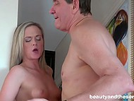 Splendid sexpot with blonde hair was interested in old man's dick much more than in new shoes 8