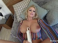 Big-breasted pornstar Brooklyn Chase filmed a video for own website to gladden fans with vibrator scene 5