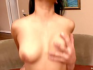 Scorching Asian totty got acquainted with athletic dude and let his penis invade smooth pussy 4