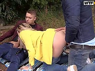 Apartment was far and hungry friends couldn't resist fucking Russian cutie by the river 11