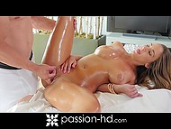 Tender massage warmed up Layla London's body before libidinous coitus with bearded beloved 7