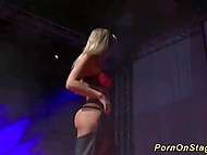 Crowd cheers hot to trot porn actress and she immediately starts to do dirty stuff on the stage 3