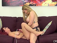 Big-boobied Aiden Starr uses strapon to nail red-haired girlfriend Ashley Graham live 10