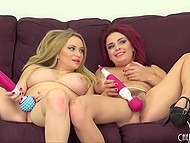 Big-boobied Aiden Starr uses strapon to nail red-haired girlfriend Ashley Graham live 4