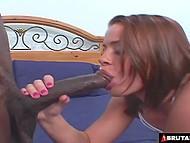 Похотливой сучке нужно два чёрных члена, которые шпилили бы её в рот и киску 6