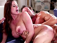 Hard-working men enjoy their time penetrating big-boobied woman in high heels 11