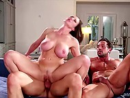 Hard-working men enjoy their time penetrating big-boobied woman in high heels 8