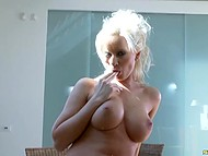 White-haired dame with big boobies fingered groomed pussy and took dildo to gratify anus 4