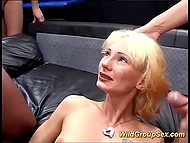In the German video white-headed chick successfully pleased lustful men and received a lot of sperm 8