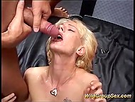In the German video white-headed chick successfully pleased lustful men and received a lot of sperm 9