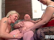 Two unholy old women frolic with shy wimp licking his nipples and make him cum