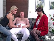 Two unholy old women frolic with shy wimp licking his nipples and make him cum 3
