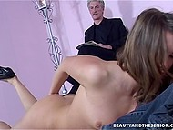 Teenage nympho nudes in front of gray-haired male to tempt him for active sex 5