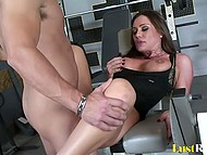 Spectacular MILF prefers young cock to exercises in the gym so does it without hesitation 10