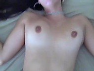Dick penetrates brunette's pussy over and over that makes her moan because of crazy sensations 10