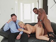 Kissable honey let her husband's friend fuck her right in front of spouse and made him watch and cry 7