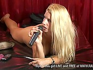 British pornstar Sammy Jayne plays with dildo within the framework of erotic TV show 10