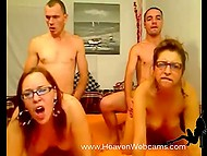 Two girlfriends with glasses give a head and are fucked in doggystyle on webcam 5