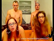 Two girlfriends with glasses give a head and are fucked in doggystyle on webcam