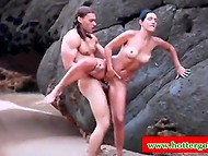 Muscled Tarzan together with bronzed Portuguese found secluded place on the beach to fuck